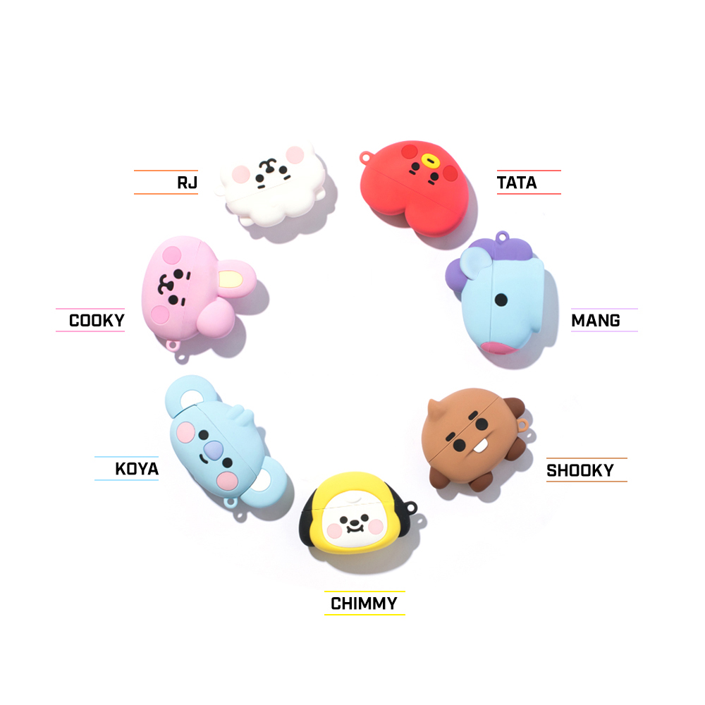 Official Line Friends BTS BT21 Face Type Apple AirPods Pro Protective Silicone Case | Zoarah